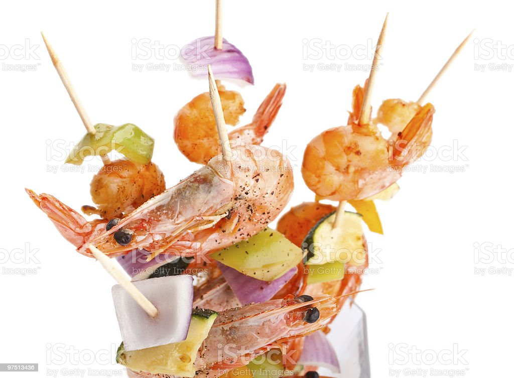 colorful vegetable and shrimp grilled kebabs royalty-free stock photo