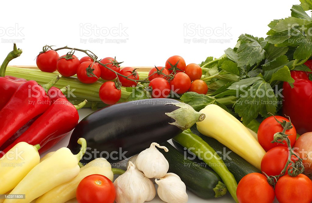 Colorful vegetable arrangement royalty-free stock photo