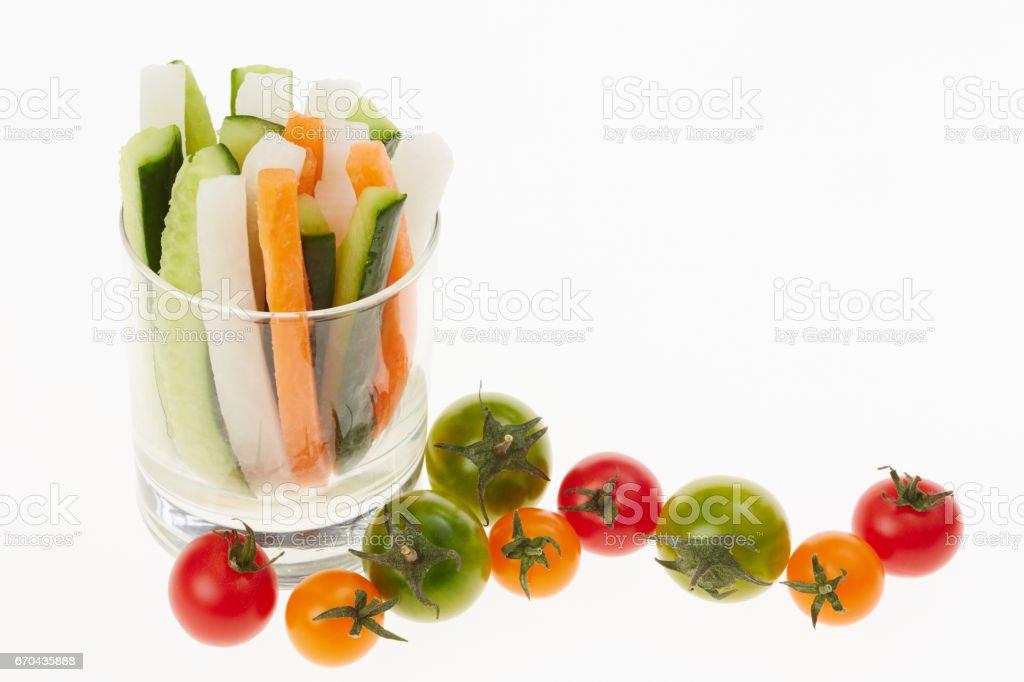 Colorful vegetable sticks stock photo