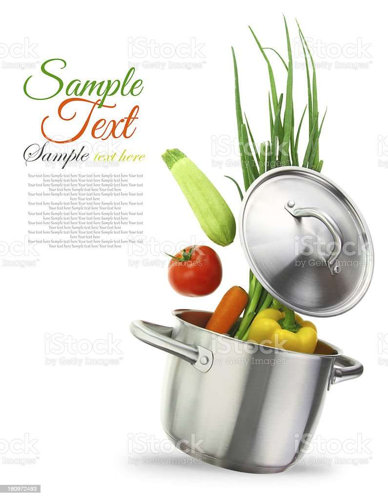 Colorful vegetables in a stainless steel cooking pot stock photo