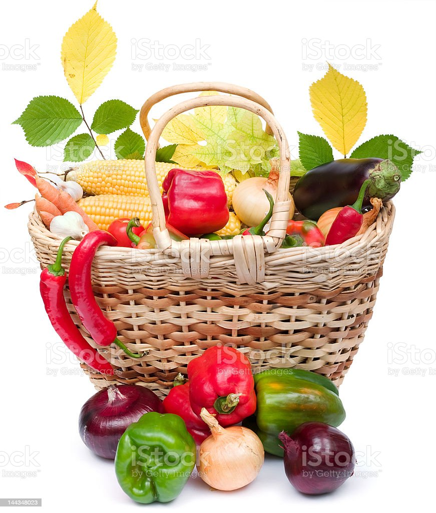 colorful vegetables in basket royalty-free stock photo