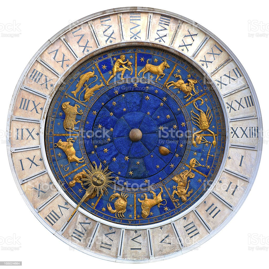 A colorful Venetian clock on a white background royalty-free stock photo