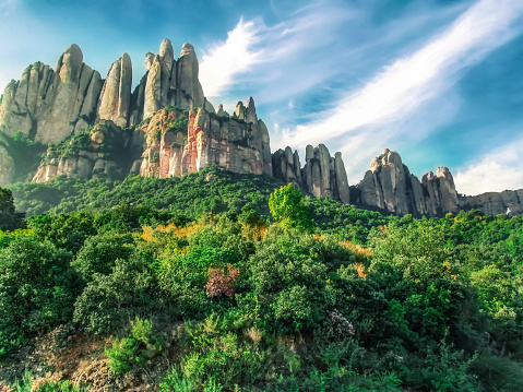 Colorful vibrant landscape of the Montserrat mountains in Catalonia (Spain)
