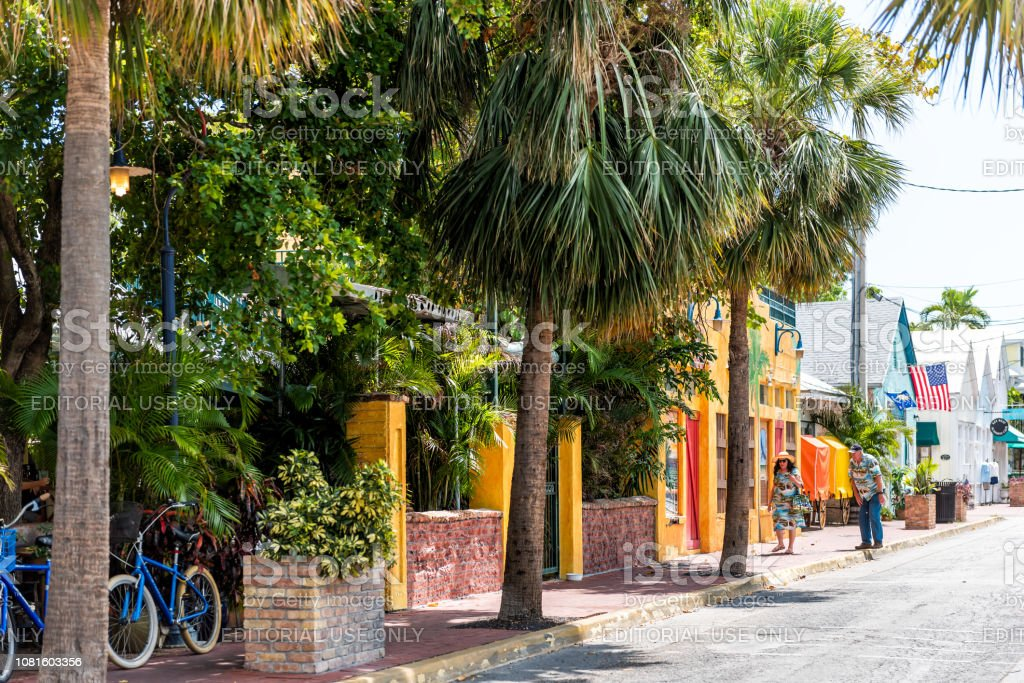 Colorful Vibrant Yellow And Orange Colors At Famous Tropical Cafe Or Restaurant Facade Exterior In Florida Travel Sunny Day Street Stock Photo Download Image Now Istock