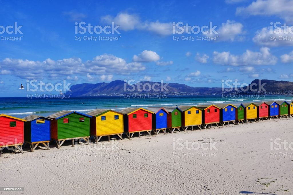 Colorful Victorian beach huts at Muizenberg near Cape Town, South Africa stock photo