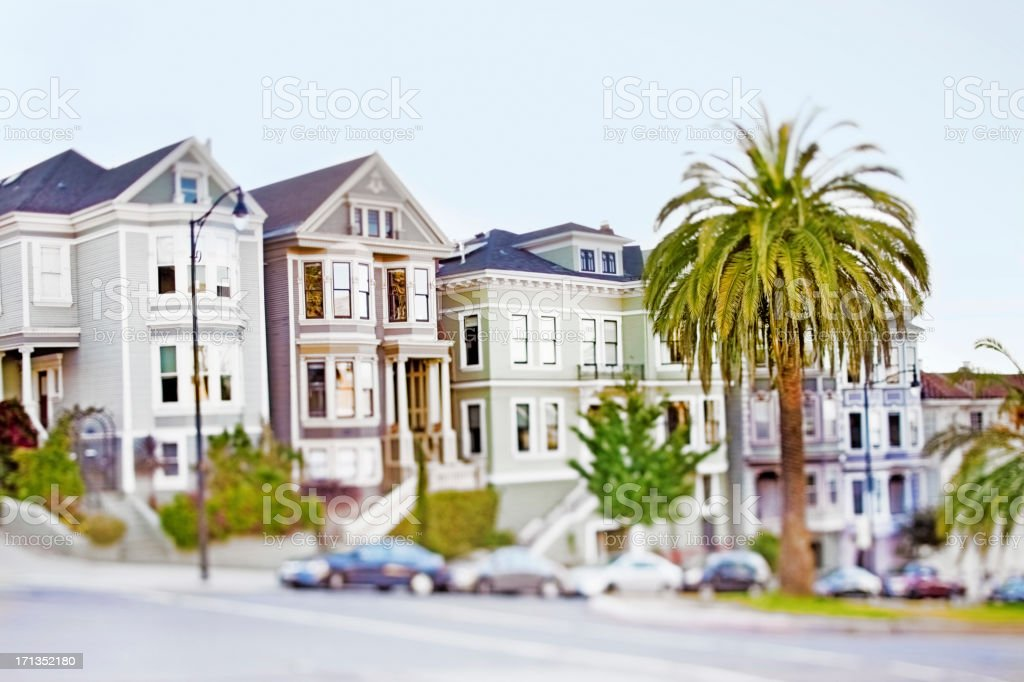 Colorful Victorian homes in Mission District stock photo