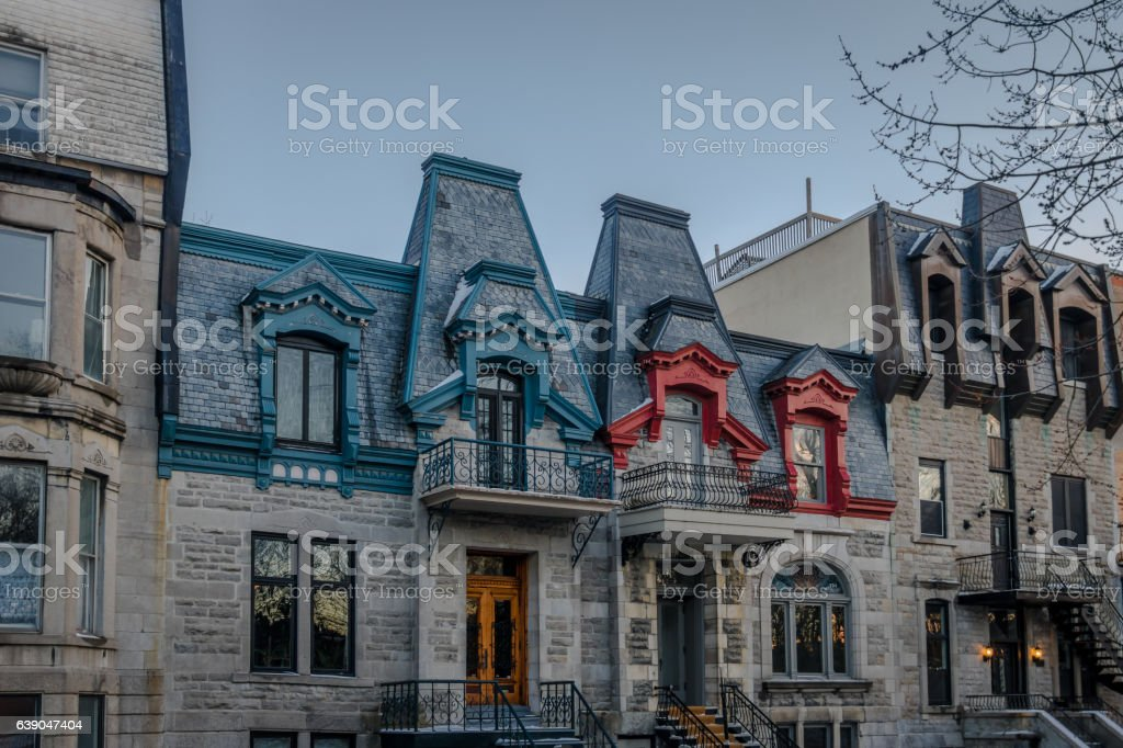 Colorful Victorian Houses - Montreal, Quebec, Canada stock photo