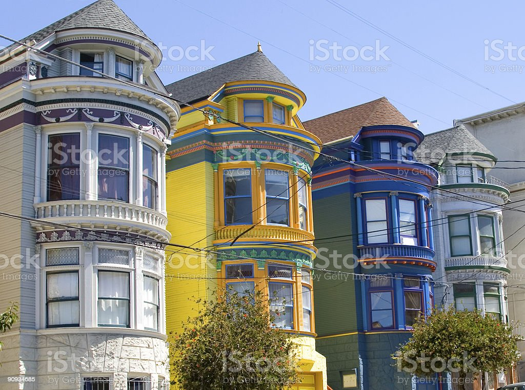 Colorful Victorian houses side by side stock photo