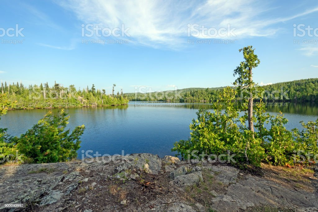 Colorful View from a Rocky Lakeshore stock photo