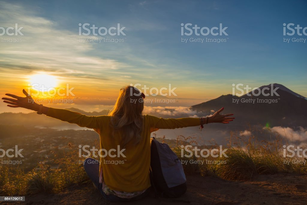 A colorful view from the mount Batur, Bali - Indonesia. royalty-free stock photo