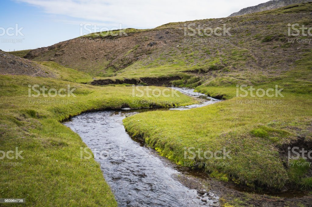 Colorful view of green canyon with pure water creek - Royalty-free Adventure Stock Photo