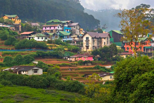 Colorful village houses in Nuwara Eliya, Sri Lanka stock photo