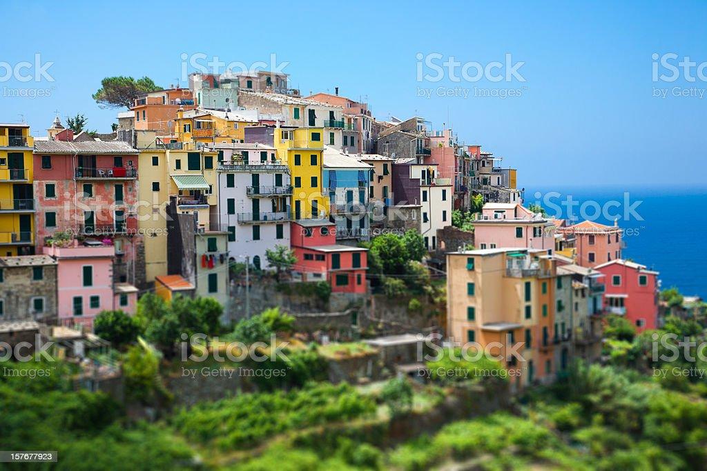 Colorful Village of Corniglia, Italy, Cinque Terre, Tilt Shift Lens royalty-free stock photo