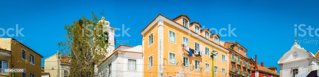Colorful villas townhouses and churches summer city panorama Lisbon Portugal stock photo
