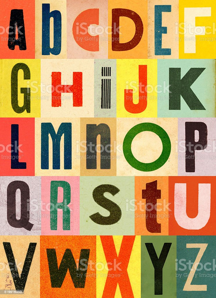 Colorful Vintage Alphabet stock photo