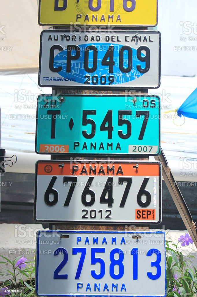 Colorful Vintage Car Plates Sold In A Market Place Panama Stock ...