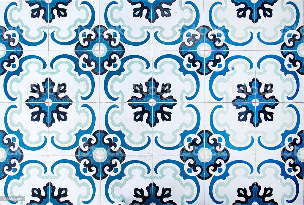 Colorful vintage ceramic tiles wall decoration.Turkish ceramic tiles wall background - foto de acervo