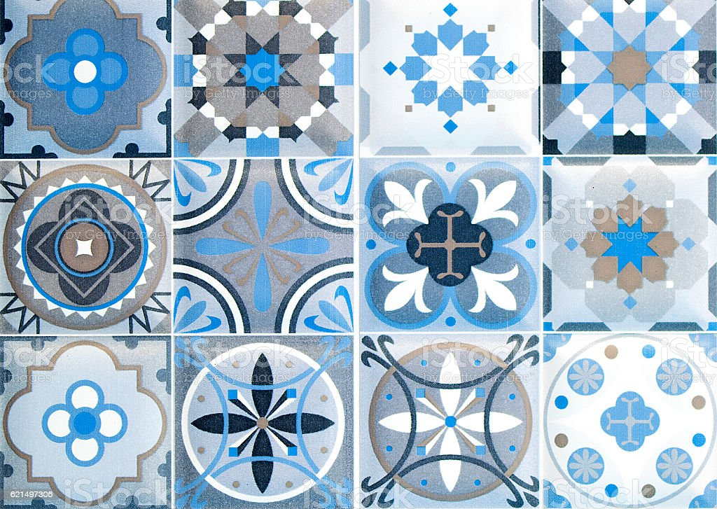 Colorful vintage ceramic tiles wall decoration.Turkish ceramic tiles wall background stock photo