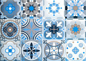 Colorful vintage ceramic tiles wall decoration.Turkish ceramic tiles wall background