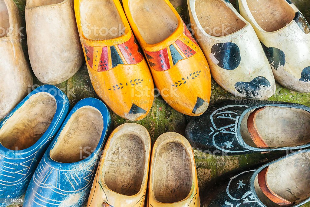 Colorful vintage Dutch wooden clogs stock photo