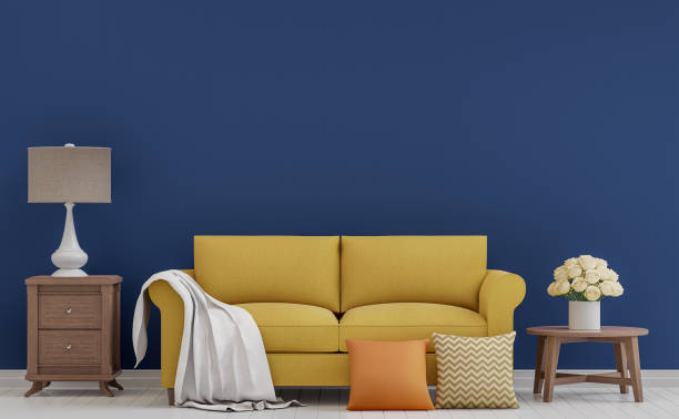 Colorful vintage living room 3d rendering image stock photo