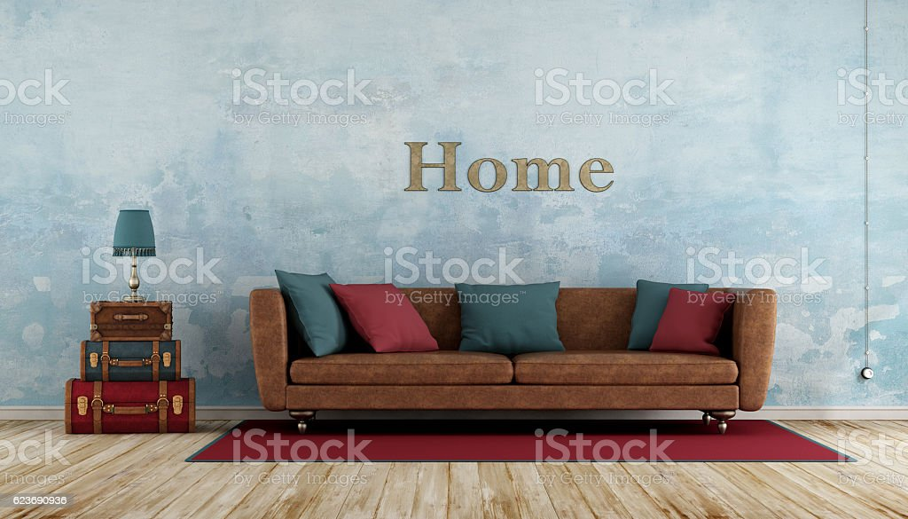Colorful vintage living room stock photo