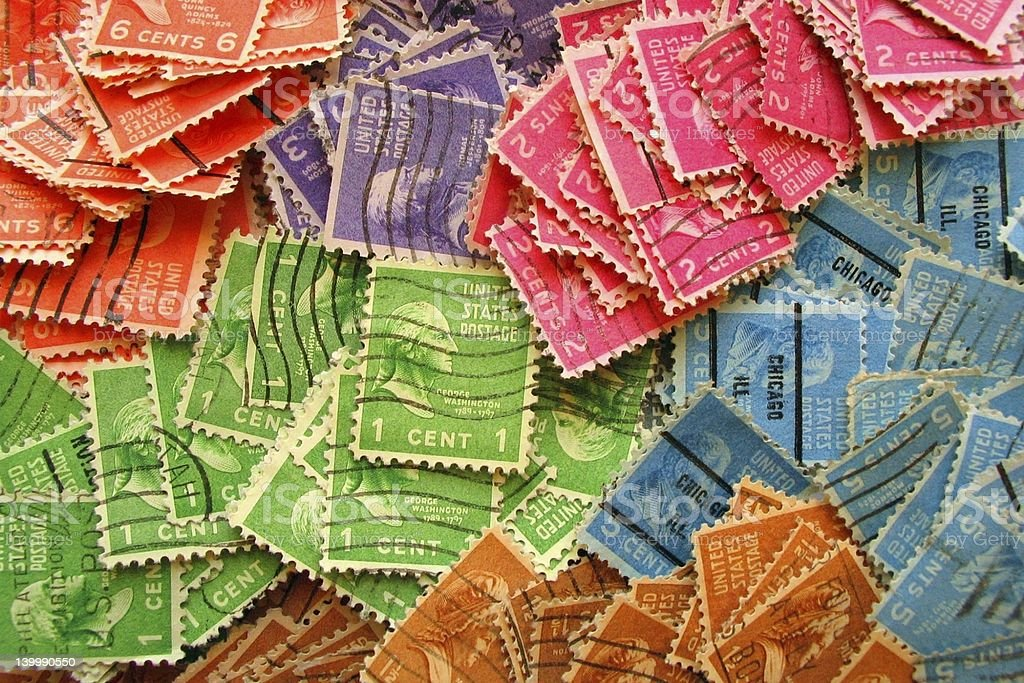 Colorful Vintage Stamps (II) royalty-free stock photo
