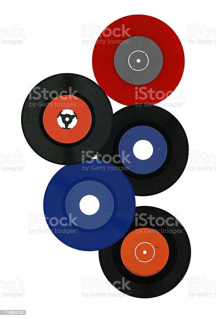 Colorful vinyl records stock photo