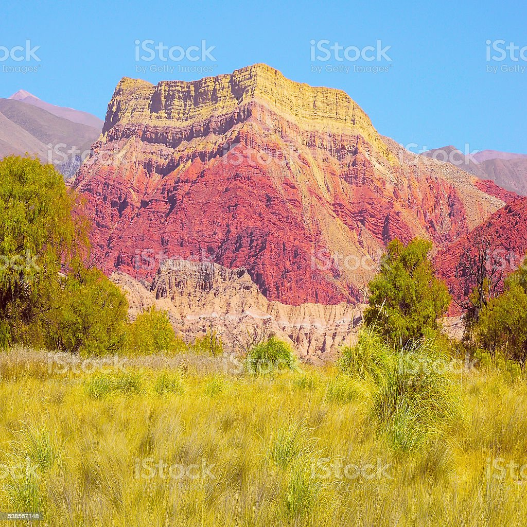 Colorful volcanic mountains. stock photo