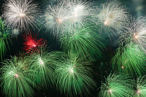 Colorful volleys fireworks stock photo