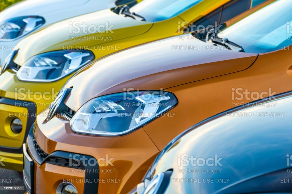 Colorful VW up! cars in a row stock photo