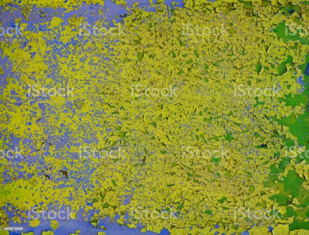 Colorful wall green yellow blue stock photo