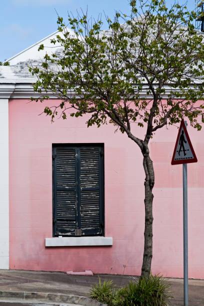 Colorful wall in Bermuda stock photo