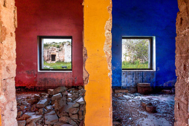 Colorful walls and window stock photo