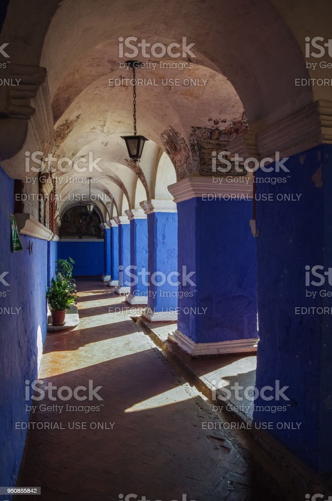 Colorful walls inside of monastery of St. Catherine at Arequipa, Peru stock photo