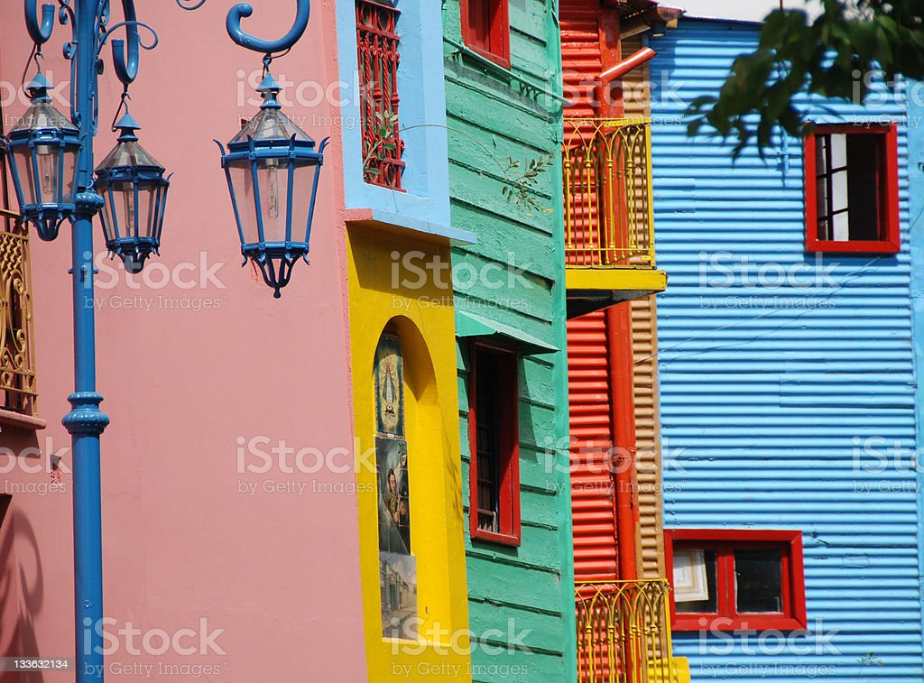 Colorful walls of La Boca buildings, Buenos Aires, Argentina stock photo