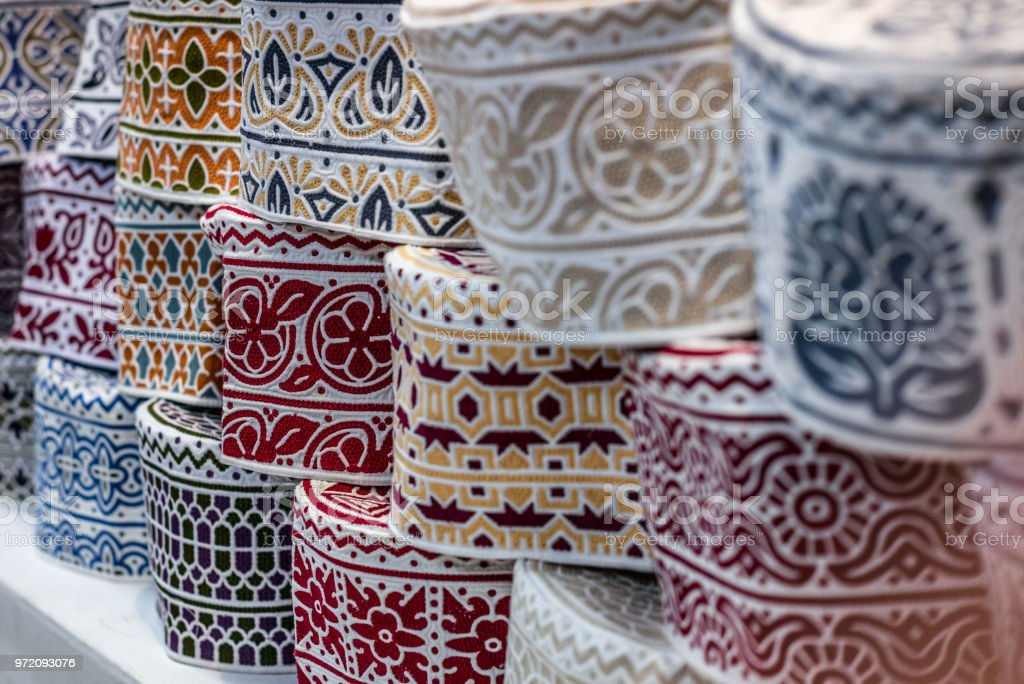 Colorful wares on sale in a traditional Omani Suq (Market) in Muscat - 4 stock photo