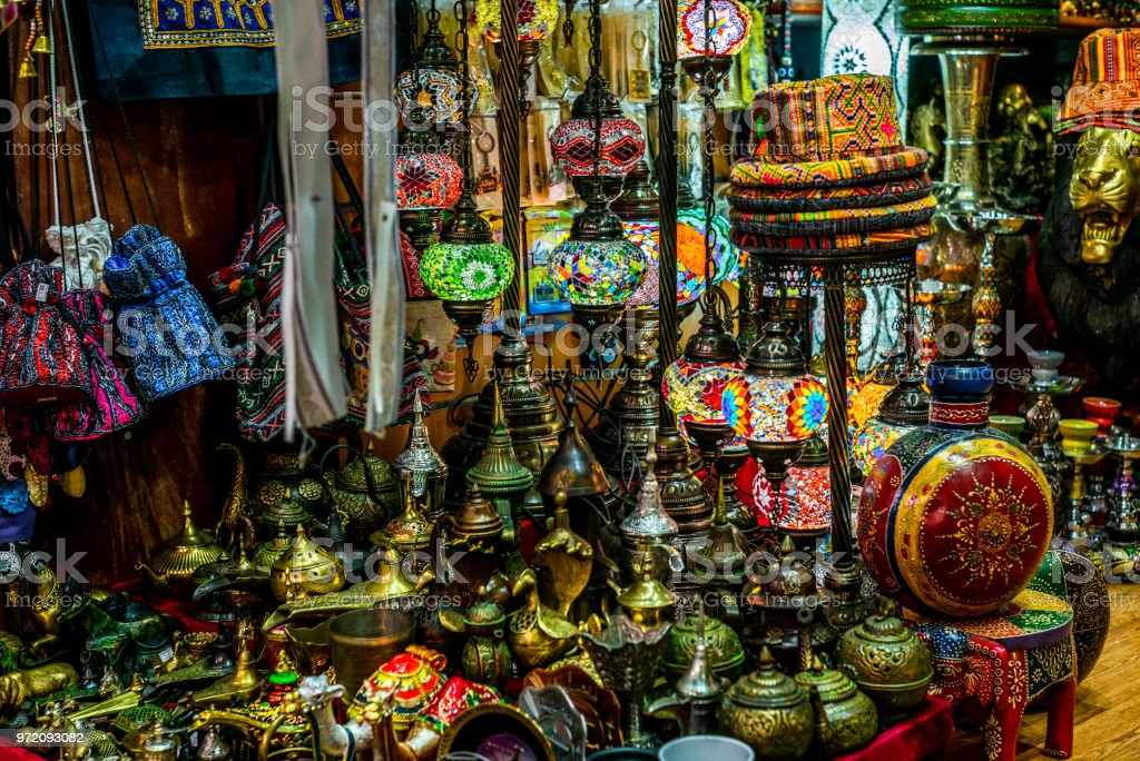 Colorful wares on sale in a traditional Omani Suq (Market) in Muscat - 5 stock photo