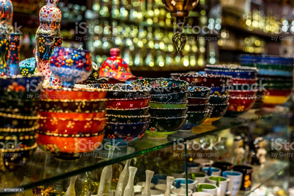 Colorful wares on sale in a traditional Omani Suq (Market) in Muscat - 6 stock photo