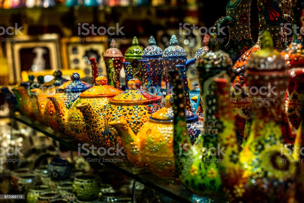 Colorful wares on sale in a traditional Omani Suq (Market) in Muscat - 9 stock photo