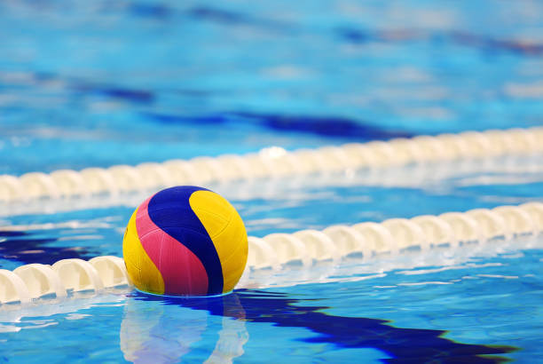 Colorful water ball in swimming-pool stock photo