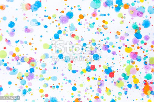 istock Colorful water color painting splash. Blot, Blurred spot. with texture. Multiple spots and stain water color on white background 929747618