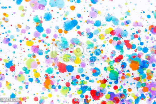 istock Colorful water color painting splash. Blot, Blurred spot. with texture. Multiple spots and stain water color on white background 929747756