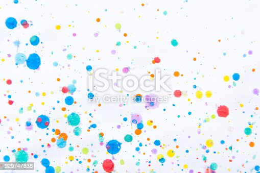 istock Colorful water color painting splash. Blot, Blurred spot. with texture. Multiple spots and stain water color on white background 929747838