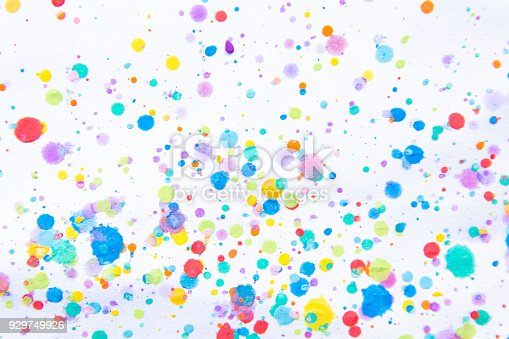 istock Colorful water color painting splash. Blot, Blurred spot. with texture. Multiple spots and stain water color on white background 929749926