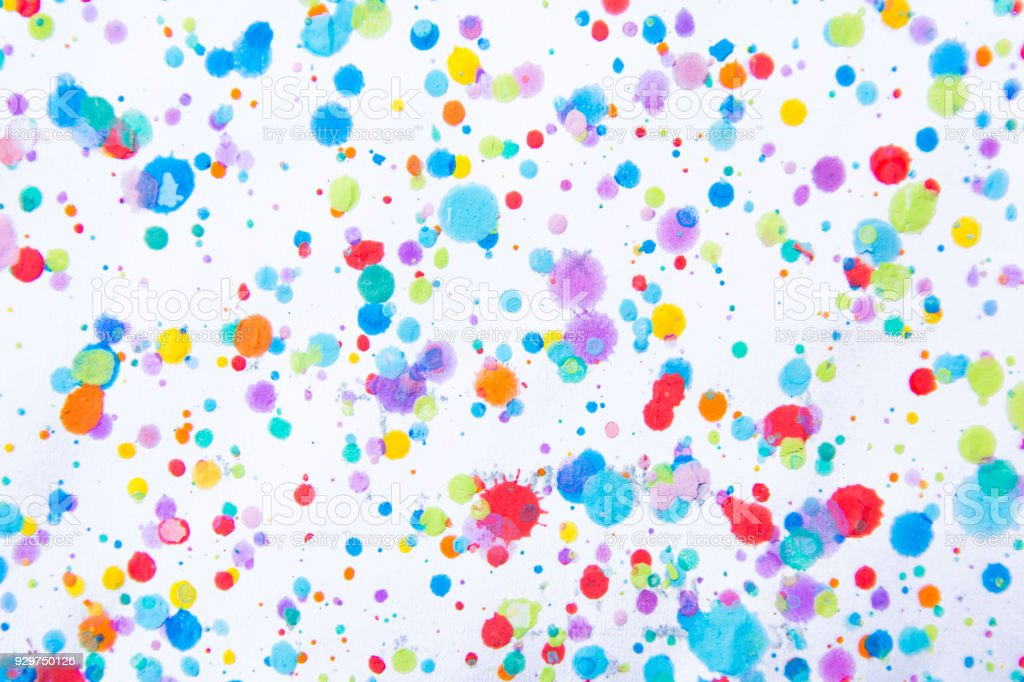 Colorful water color painting splash. Blot, Blurred spot. with texture. Multiple spots and stain water color on white background stock photo