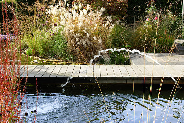 Bunte Wasser Garten mit Brunnen und dock – Foto