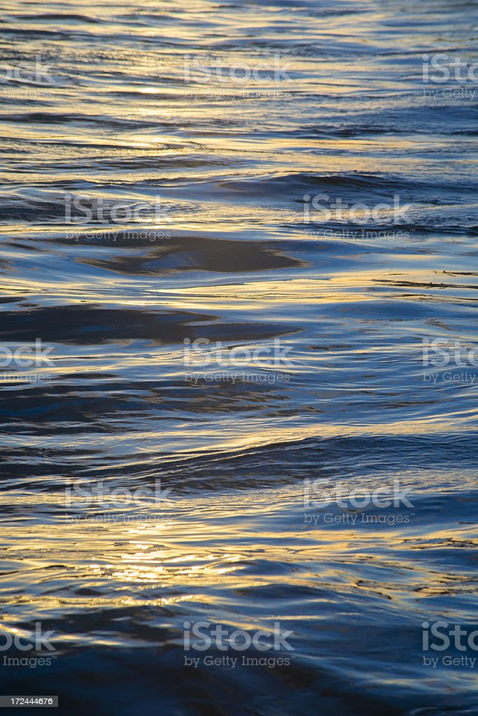 Colorful Water Surface Reflecting Sunset royalty-free stock photo