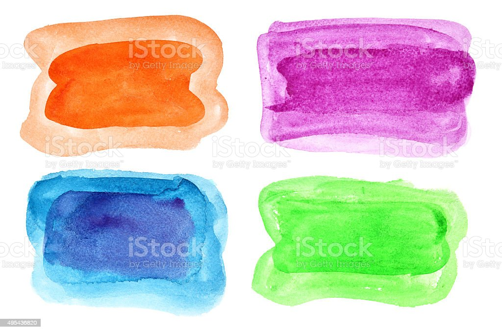 Colorful watercolor brush strokes stock photo