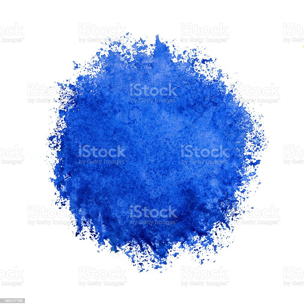 Colorful watercolor circle, blue drop on white background. stock photo